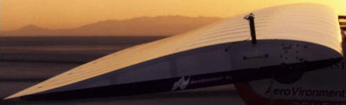 Photo showing airfoil wing on the NASA Centurion solar-powered plane.