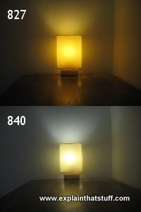 Color temperatures of two CFL bulbs compared: warm 827 and cool white 840