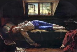 Painting of poet Thomas Chatterton by Henry Wallis in 1856