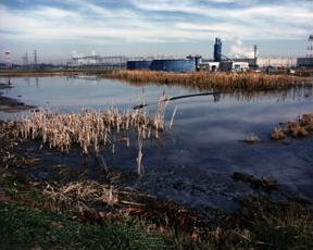A chromium sludge lagoon before cleanup