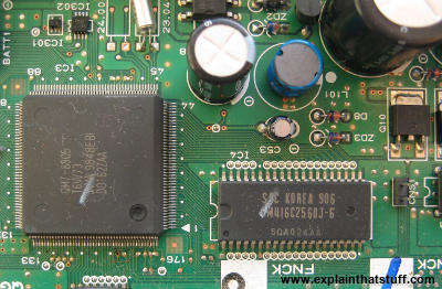 Part of the electronic circuit board from a computer printer