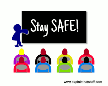 Cartoon icon of children sitting, looking forward at a blackboard with words Stay SAFE.