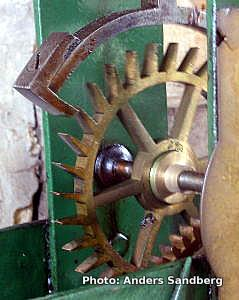 Escapement in a pendulum clock. Photo by Anders Sandberg.