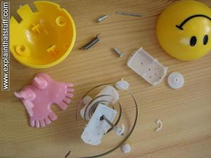 Arrangement of parts in a clockwork toy.
