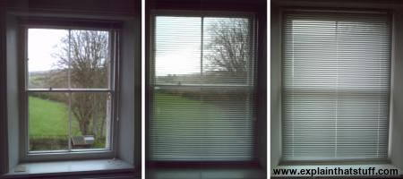Window blinds open, half-closed, and fully closed