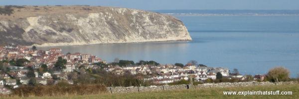 A low lying coastal town near the sea.