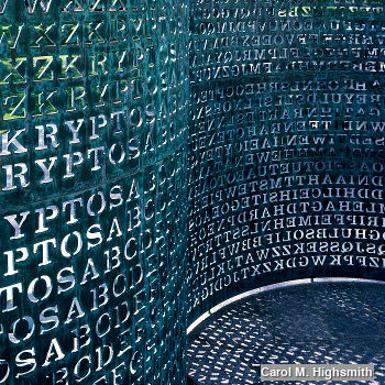 Art made of code named Kryptos sits on the grounds of the C.I.A. Headquarters in Virginia
