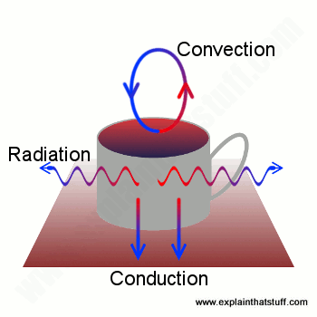 How a cup of coffee cools through the three heat transfer mechanisms of conduction, convection, and radiation