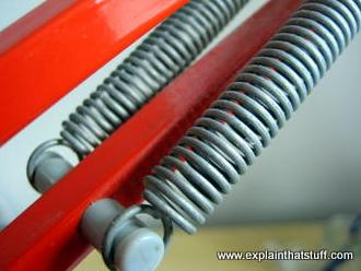 Coil springs on a table lamp.