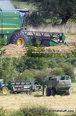 Top: A side view of a combine showing the wide header unit, reel, and blades. Bottom: Removing the header from a combine harvester and placing it behind a tractor and trailer.