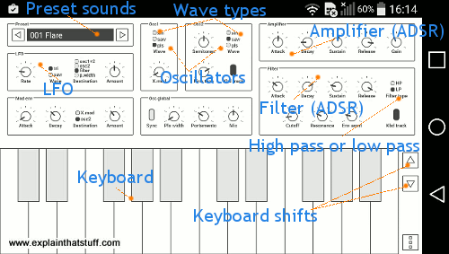 Screenshot of Common Analog Synthesizer Android app by oxxxide.