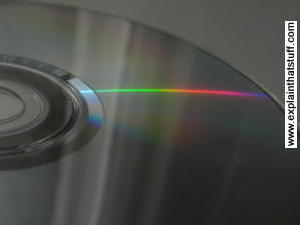 Compact disc reflecting a spectrum of colored light by thin-film interference.
