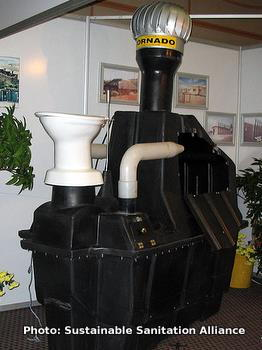 A composting toilet at an exhbition in South Africa.
