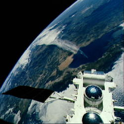 Compton Gamma Ray Observatory photographed over Baja California from the Space Shuttle.