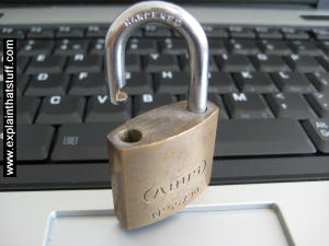 A general illustration of computer security: a padlock sitting on a computer keyboard.