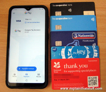 A selection of contactless payment and identification cards and a smartphone running Google Pay.