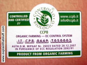 Example of an Italian organic certification label from Controllo Biologico.