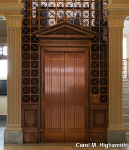 Brass/copper elevator at former Federal District Courthouse in Texarkana, Texas by Carol M. Highsmith.
