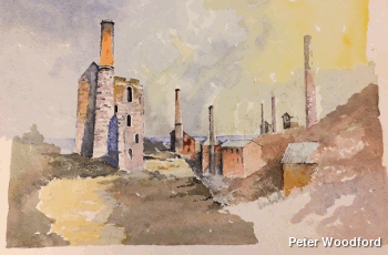Cornish tin mine on a hillside. Watercolor artwork by Peter Woodford.