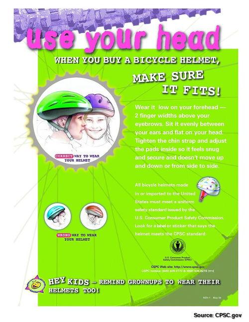 US CPSC helmet leaflet/poster.