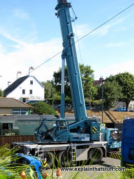Blue hydraulic crane with its boom fully extended