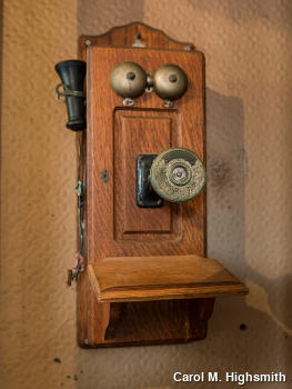 Wooden magneto telephone mounted on a wall, by Carol M. Highsmith.