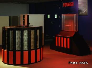 A red Cray2 supercomputer installed at NASA in 1989.