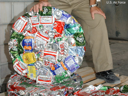 crushed aluminum cans ready for recycling