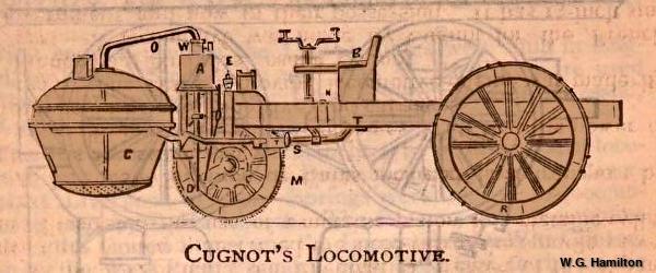 Nicholas Joseph Cugnot's steam tractor, side view.