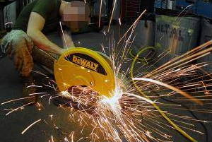 Sparks from a circular saw