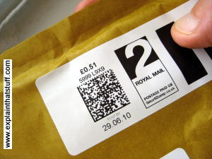 Data matrix codes on a Royal Mail Smart Stamp letter.