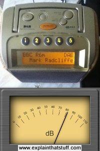 Measuring the decibel level of a radio using the decibels iPhone app.