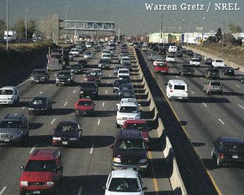 Traffic on a Denver highway.