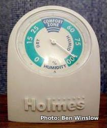 A dial hygrometer made by Holmes