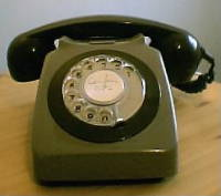 Photo on an antique British GPO dial phone.