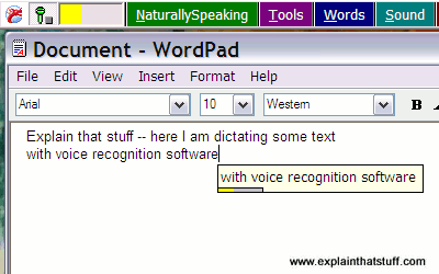 An example of dictating text into a computer using Dragon Dictate voice recognition software.