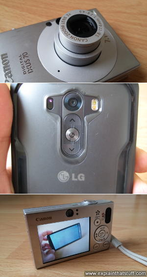 A Canon Ixus 70 digital camera compared to an LG G3 smartphone camera.