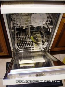 Home Dishwasher With Plates Stacked Inside