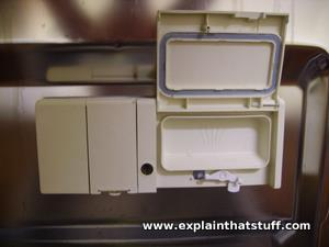 dishwasher soap dispenser compartment