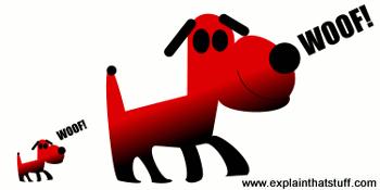 Relays illustrated: A small dark barking makes a bigger dog bark.