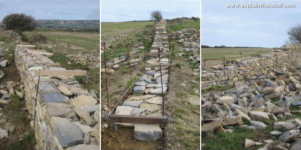 Building a dry stone wall in Langton Matravers, Swanage, Dorset, England. 1) Marking out the area. 2) How the stones are packed in. 3) How the stones are sorted into piles