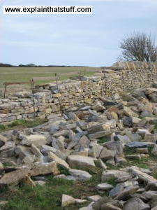 Dry stone wall in Langton Matravers, Swanage, Dorset, England. How the stones are sorted into piles