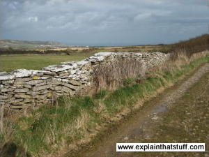 Dry stone wall in Langton Matravers, Swanage, Dorset, England