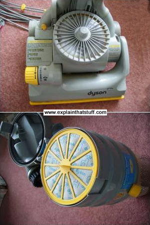 The two HEPA filters on a Dyson vacuum cleaner at the bottom and top of the dirt bin.