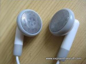 Inexpensive white earbud headphones