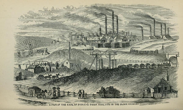 Historic illustration of coal pits and mining in Dudley, England.