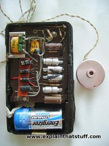 The electronic components inside a pocket-style analog hearing aid.