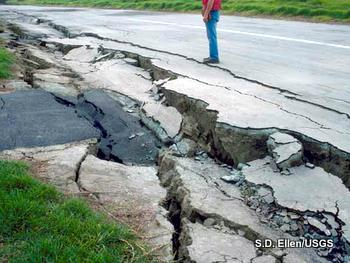 Earthquake damage: a split road