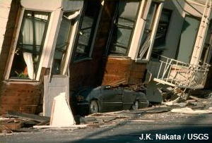Earthquake damage: collapsed homes