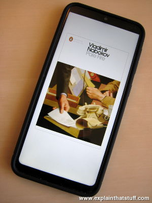 Samsung smartphone showing the ebook cover of Pale Fire by Vladimir Nabokov